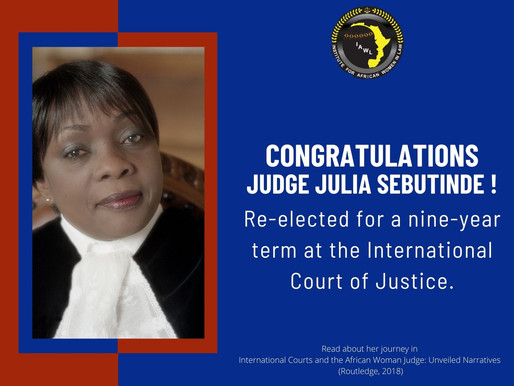Congratulations to Judge Julia Sebutinde of the International Court of Justice.