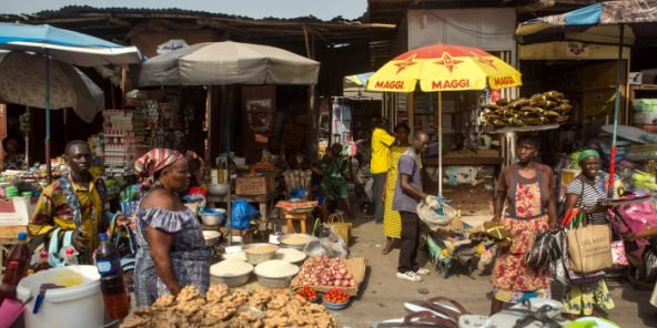 The Dantokpa market in Cotonou, Benin, on 18 February 2016. © Gwenn Dubourthoumieu for Jeune Afrique.