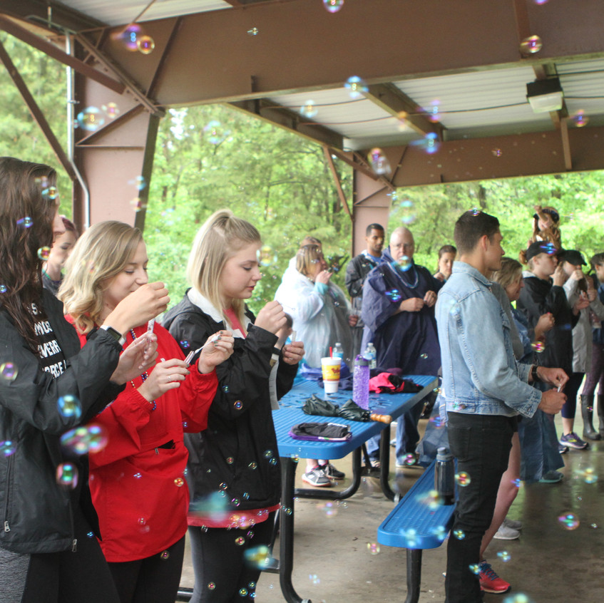 A bubble ceremony at the AFSP Hike for Hope to honor those lost to suicide.