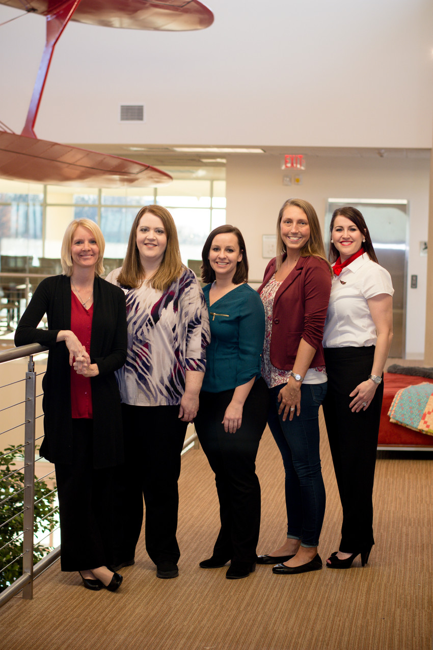 Karla Fuss, Angela McChesney, Audrey Thrasher, Ashley David, and Jessica Workman