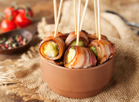 Bacon Wrapped Brussel Sprouts w/ Balsamic Drizzle