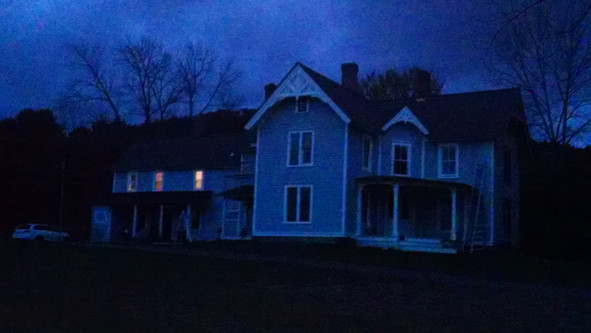 Night fall at The Witches House on Halloween.