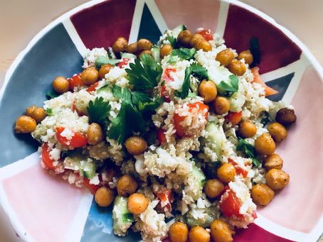 The roast chickpeas and cauliflower rice salad