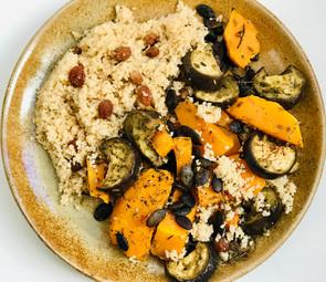 Roasted squash & aubergines with lemony couscous