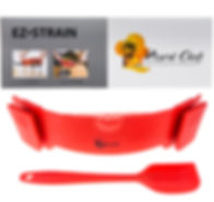 BPA free silicone clip-on strainer.  Best for one pot cooking.