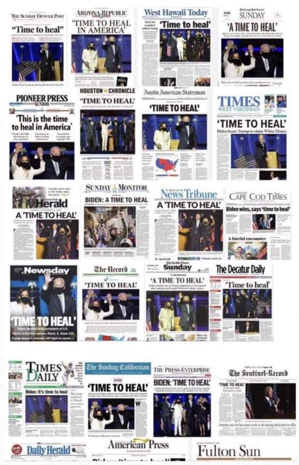 "HEADLINES IN THE WAKE OF THE MEDIA ""CALLING"" THE ELECTION FOR BIDEN/ HARRIS"