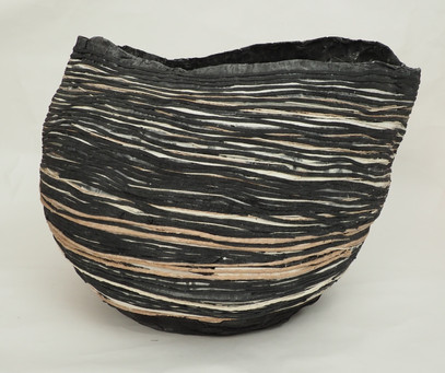 Very large horizontal striped vessel
