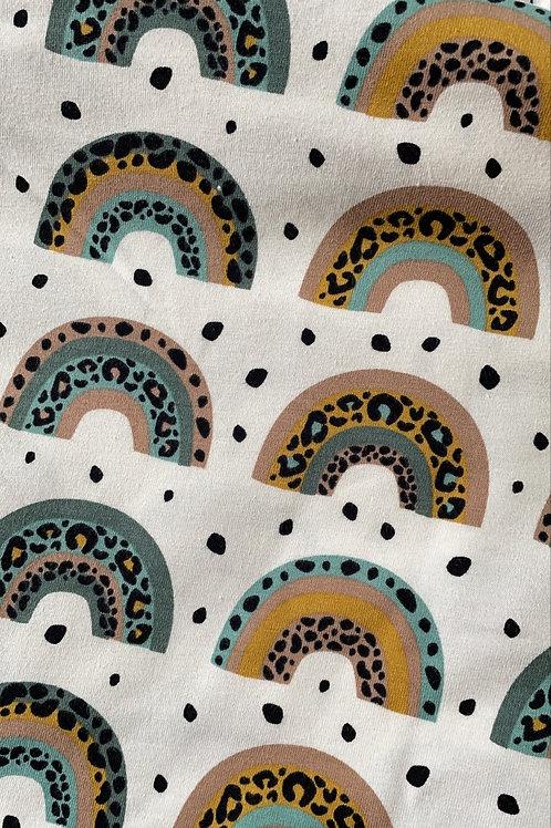 Leopard Print Rainbow Romper