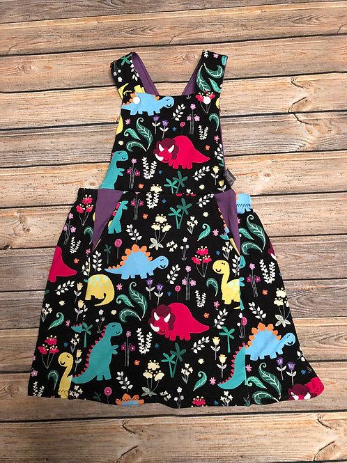 Floral Dinosaurs Pinafore Dress