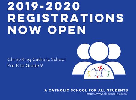 2019/2020 Registrations now open