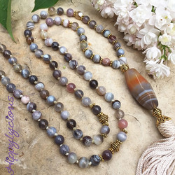 I Follow the Flow of Love is the mantra that blesses this In the Flow Mala made of gorgeous Botswana