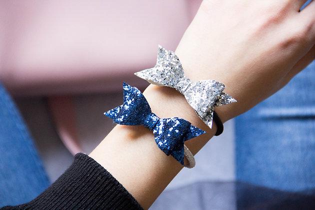 Elastiki za lase/zapestnici - modra, srebrna