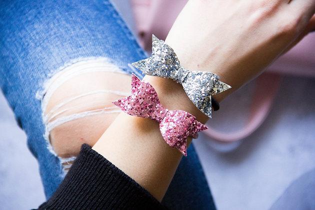 Elastiki za lase/zapestnici - roza, srebrna