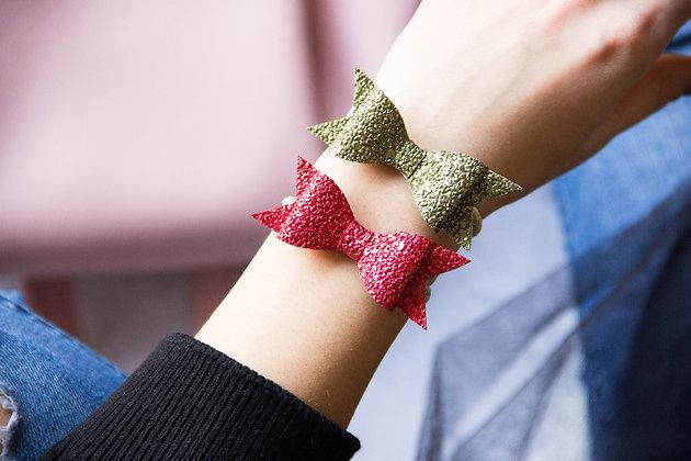 Elastiki za lase/zapestnici - rdeča, zelena