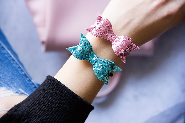 Elastiki za lase/zapestnici - roza, turkizna
