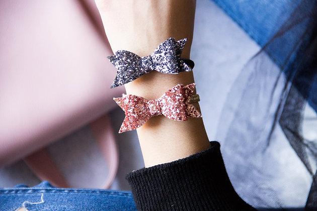 Elastiki za lase/zapestnici - siva, rožnato zlata