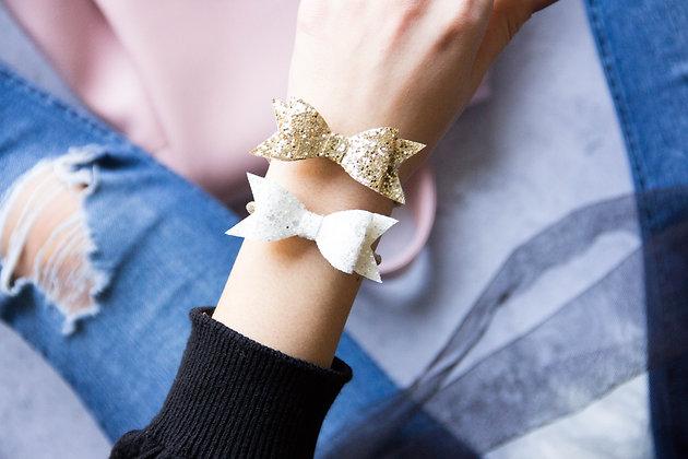 Elastiki za lase/zapestnici - zlata, bela