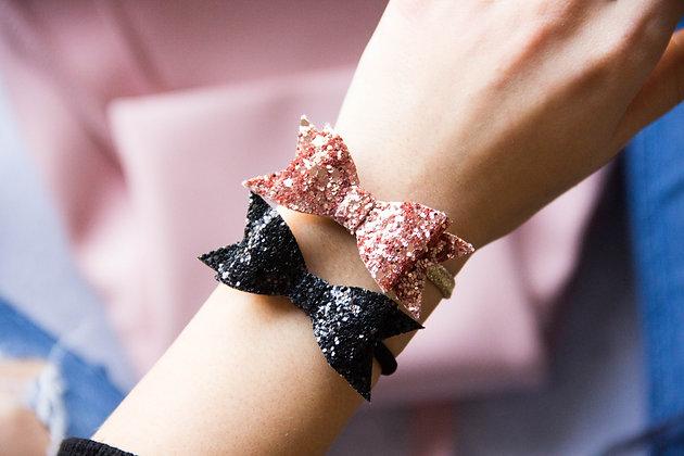 Elastiki za lase/zapestnici - črna, rožnato zlata