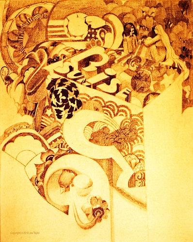 """Canvas print of """"Pencil Drawing on Masonite"""" (A) by Joe Taylor."""