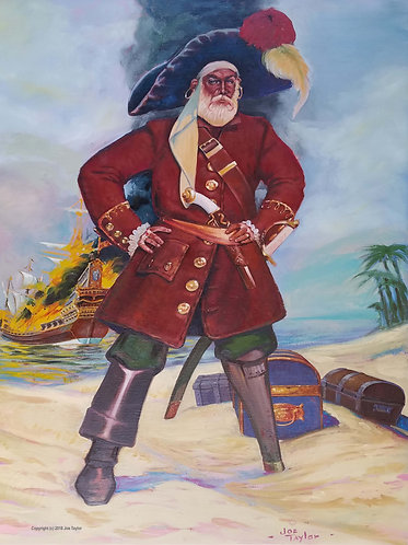"Canvas print, ""Pirate, burning ship and chest"" by Joe Taylor"