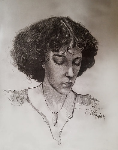 "Canvas print of ""Anna"", charcoal drawing by Joe Taylor"