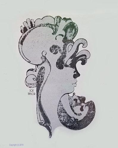 "Canvas print 12 ""x14"" of Judy, Othello pencil on rough canvas 1967 by Joe Taylor"