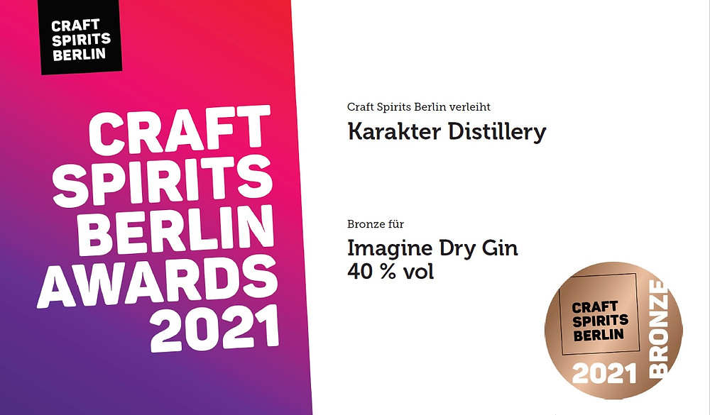 Imagine dry gin 40% - Slovenian gin wins bronze medal at Craft Spirits Berlin competition.