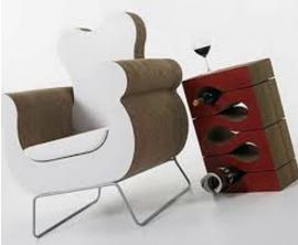 fauteuil et bout de canapé design en carton