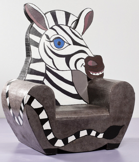 fauteuil zèbre cartonnage