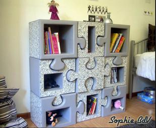 bibliotheque puzzle en carton chambre enfant