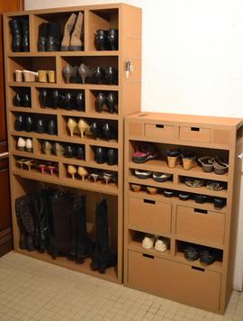 rangement chaussures sur mesure carton