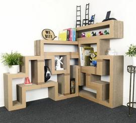 étagère living stylisée en carton