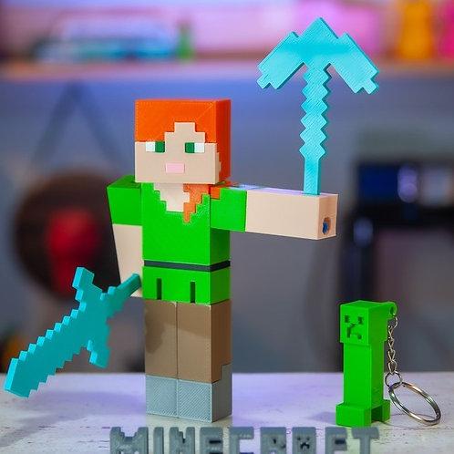 Alex Minecraft - Brinquedo articulada - Chaveiro Creeper de brinde