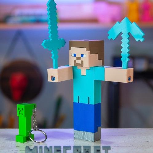 Steve Minecraft Brinquedo - Boneco Articulado Steve Chaveiro Creeper de brinde