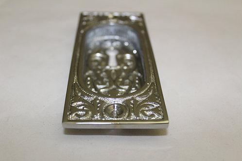 Ornate chrome recessed handle w/keyhole - J23