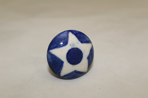 White star on blue Cabinet Knob