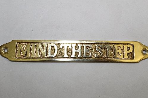 Brass (MIND THE STEP) sign - J11
