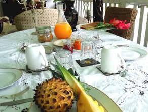 Tropical full breakfast in the verandah