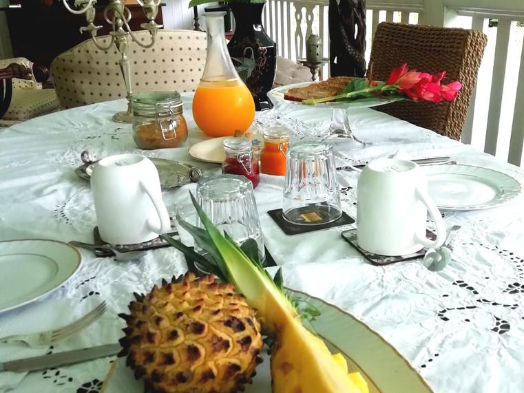 Tropical full breakfast in the verandah