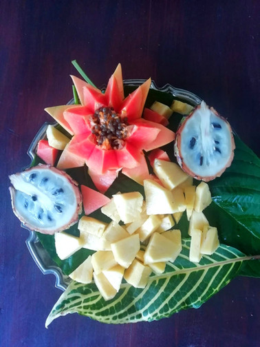 Tropical fruits fresh plate breakfast