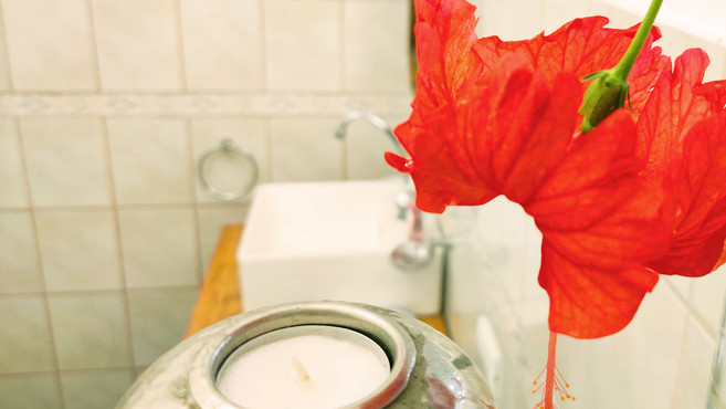 Natural flowers in the bathroom