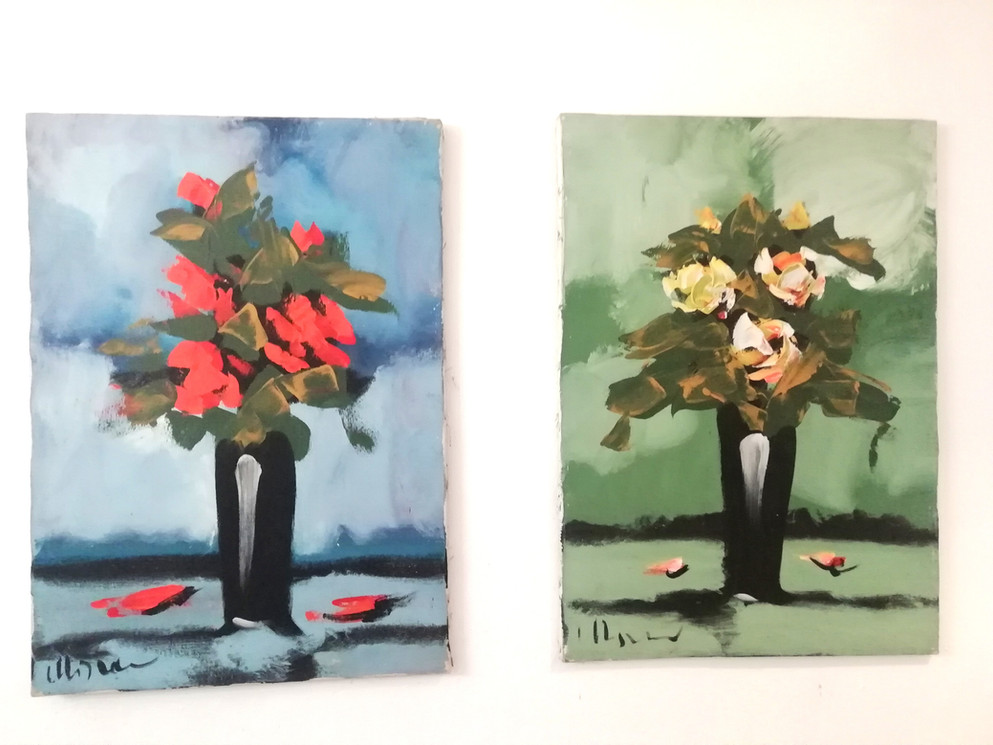 Pair of Italian oil painting flowers vase