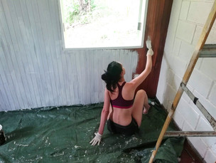Isabella our daughter painting the Birds Room