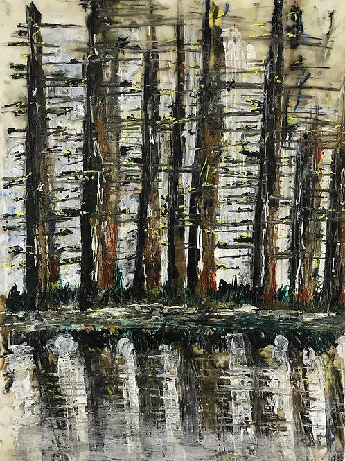 Wald hinter Fluss (Gion Battesta Huonder)