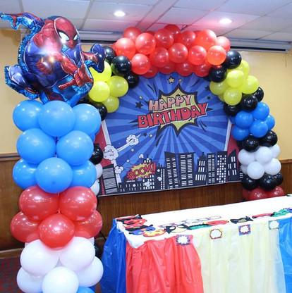 Spiderman balloon arch and column  #bridalbouquet #bridesmaidbouquet #Babyshower #balloondecorator #balloons #weddingbackdrop #weddingdecorator #eventdecorator #weddingplanner #partyplanner #weddingdj #lighting #eventplanner #uniquedecoration #trendydecoration #balloonarch
