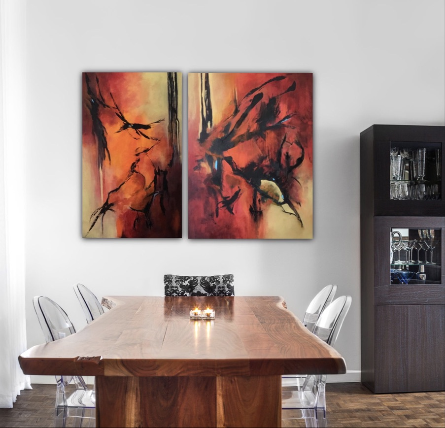 Taking Flight 1 and 2, Diptych