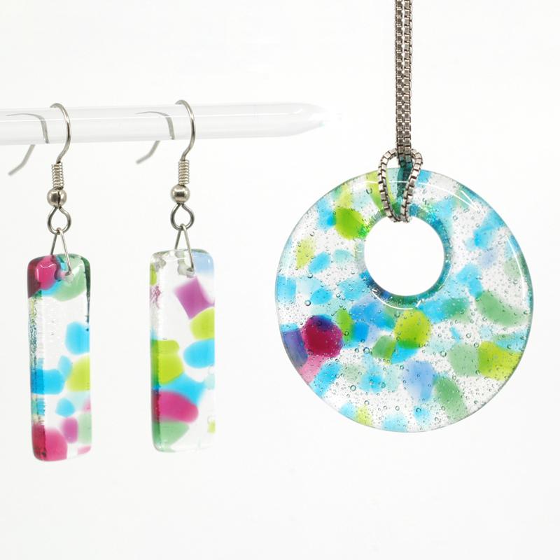 Spring Flower Earrings and Pendant Set