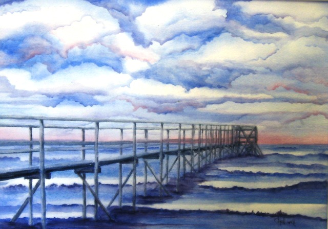 Pier View, Watercolour
