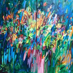 """Jazz: le Dans, Diptych, 18""""x36"""" each panel, Acrylic on Canvas"""