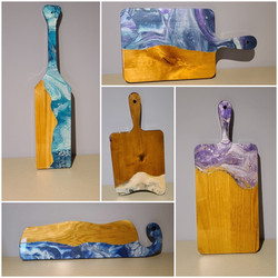 Funtional art incuding charcuterie boards, coasters, and serving trays
